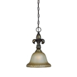 "Devereaux Collection 1-Light 15"" Burleson Bronze Mini Pendant with Clear Painted Etched Glass Shade 25731-BBZ"