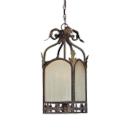 "Devereaux Collection 3-Light 24"" Burleson Bronze Foyer with Clear Painted Etched Glass Shade 25733-BBZ"