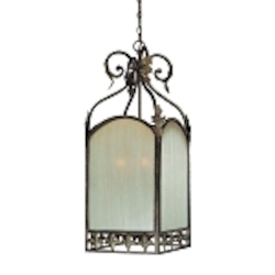 "Devereaux Collection 6-Light 36"" Burleson Bronze Foyer with Clear Painted Etched Glass Shade 25736-BBZ"