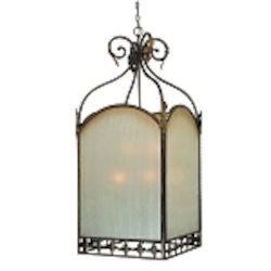 "Devereaux Collection 9-Light 46"" Burleson Bronze Foyer with Clear Painted Etched Glass Shade 25739-BBZ"