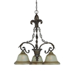 "Devereaux Collection 3-Light 29"" Burleson Bronze Down Chandelier with Clear Painted Etched Glass Shade 25743-BBZ"