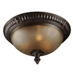 "Devereaux Collection 3-Light 15"" Burleson Bronze Flush with Painted Etched Glass Shade 25753-BBZ"