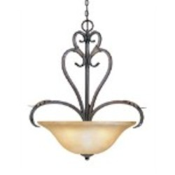 "Olympus Tradition Collection 4-Light 31"" Crackled Bronze Pendant with Handmade Tea-Stained Glass 2628-24"