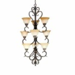 "Olympus Tradition Collection 9-Light 47"" Crackled Bronze Chandelier with Handmade Tea-Stained Glass 2629-24"
