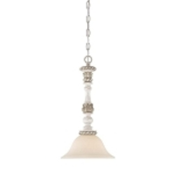 "Zoe Collection 1-Light 19"" Antique Linen Mini Pendant with Glass Shade 27321-ATL"
