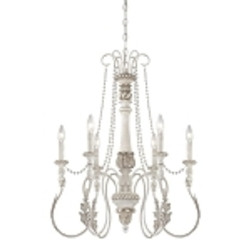 "Zoe Collection 6-Light 31"" Antique Linen Chandelier 27326-ATL"