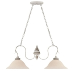 "Zoe Collection 2-Light 36"" Antique Linen Island Light with Glass Shade 27332-ATL"
