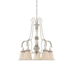 "Zoe Collection 5-Light 26"" Antique Linen Down Chandelier with Glass Shade 27335-ATL"