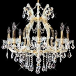 "Maria Theresa 9-Light 26"" Chrome, Gold, Golden Teak, Black, or White Chandelier with Swarovski or European Crystals SKU# 10407"