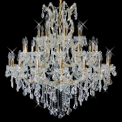 "Maria Theresa 37-Light 44"" Chrome or Gold Chandelier European or Swarovski Crystals SKU# 10410"