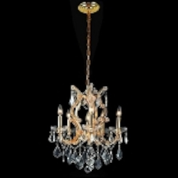"Maria Theresa 6-Light 20"" Chrome, Gold, Golden Teak, Black, or White Crystal Chandelier with European or Swarovski Crystals SKU# 10406"