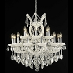 "Maria Theresa Collection 19-Light 30"" White Crystal Chandelier 2800D30WH"