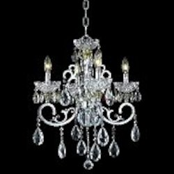 "Aria Collection 4-Light 24"" Chrome Clear Crystal Mini Chandelier 2830D20C"