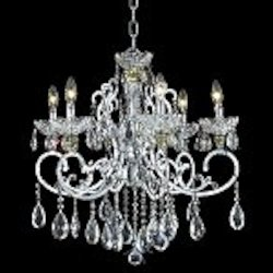 "Aria Collection 6-Light 26"" Chrome Clear Crystal Chandelier 2830D26C"