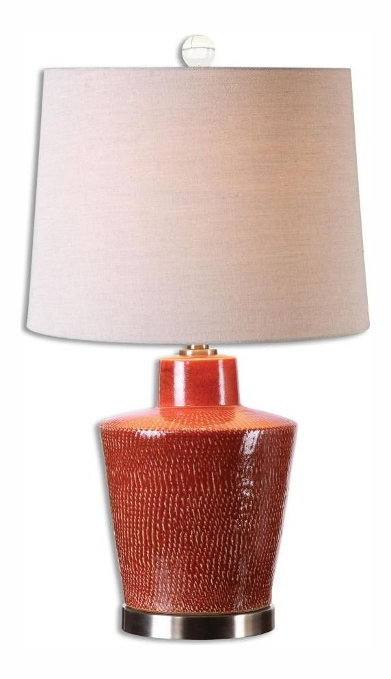 Uttermost Distressed Brick Red Cornell 1 Light Table Lamp