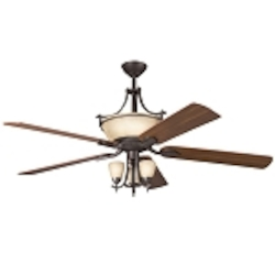 "Olympia Collection 60"" Olde Bronze Ceiling Fan with Reversible Cherry/Walnut Blades 300011OZ"