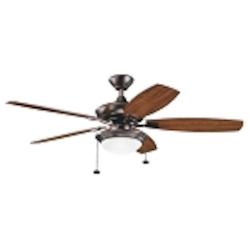 "Canfield Collection 52"" Oil Brushed Bronze Ceiling Fan with Reversible Walnut/Cherry Blades 300016OBB"