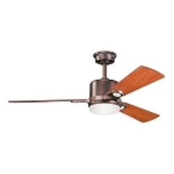 "Celino Collection 48"" Oil Brushed Bronze Ceiling Fan with Reversible Walnut/Cherry Blades 300017OBB"