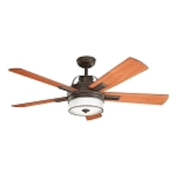 "Lacey Collection 52"" Olde Bronze Ceiling Fan with Reversible Cherry/Walnut Blades 300181OZ"