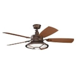"Harbour Walk Patio Collection 52"" Weathered Copper Ceiling Fan with Reversible Light Walnut/Dark Walnut Blades 310102WCP"