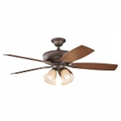 "Monarch II Patio Collection 52"" Weathered Copper Powder Coat Ceiling Fan with Reversible Walnut Blades 310103WCP"
