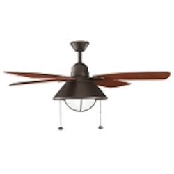 "Seaside Collection 54"" Olde Bronze Powder Coat Ceiling Fan with Walnut Blades 310131OZ"