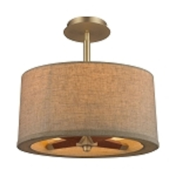 "Jorgenson Collection 3-Light 14"" Tan Linen Drum Shaded Mahogany Wood  Ceiling Mount Chandelier 31324/3"