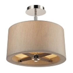 "Jorgenson Collection 3-Light 14"" Champagne Drum Shaded Wood Ceiling Mount Chandelier 31334/3"