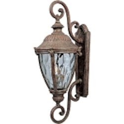 "Morrow Bay 3-Light 32"" Earth Tone Outdoor Wall Light with Water Glass 3189WGET"