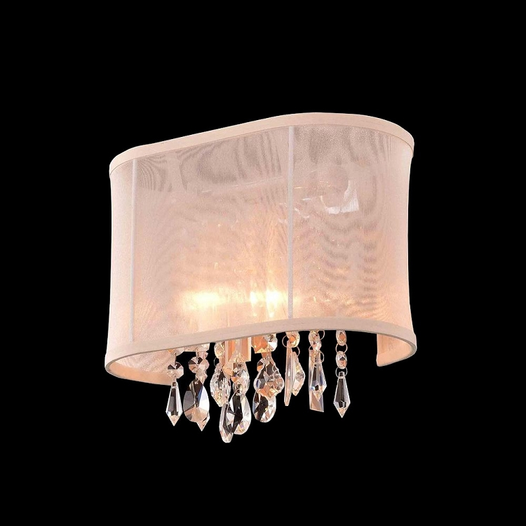 Crystal Fusion Design 1 Light 11 Wall Sconce with European Crystals and Organza Shade SKU# 85004