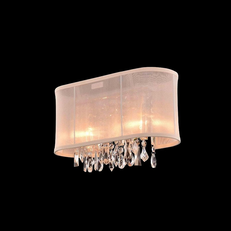 Single Light Wall Sconce With Crystals : Crystal Fusion Design 2 Light 15 Wall Sconce with European Crystals and Organza Shade SKU# 85005