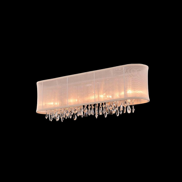 Replacement Light Shades For Wall Lights : Crystal Fusion Design 4 Light 29 Wall Sconce with European Crystals and Organza Shade SKU# 85007