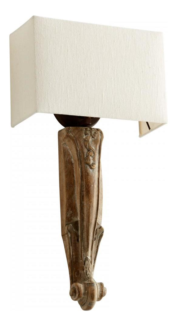 Cyan Designs Limed Gracewood Serena 1 Light Wall Sconce with White Shade Limed Gracewood 06349 ...