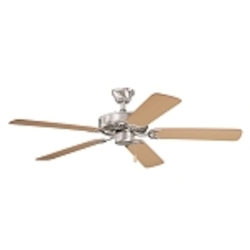 "Sterling Manor Collection 52"" Brushed Stainless Steel Ceiling Fan with Reversible Light Oak/Medium Oak Blades 339010BSS"