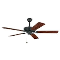 "Sterling Manor Collection 52"" Distressed Black Ceiling Fan with Reversible American Walnut/Walnut Blades 339010DBK"