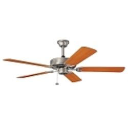 "Sterling Manor Collection 52"" Brushed Nickel Ceiling Fan with Reversible Marive Cherry/Maple Blades 339010NI"
