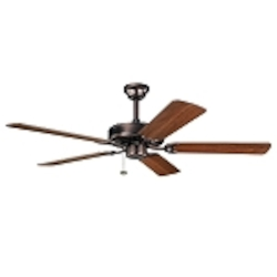 "Sterling Manor Collection 52"" Oil Brushed Bronze Ceiling Fan with Reversible Walnut/Cherry Blades 339010OBB"