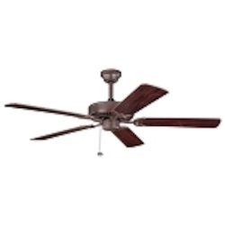 "Sterling Manor Collection 52"" Tannery Bronze Ceiling Fan with Reversible Teak/Cherry Blades 339010TZ"