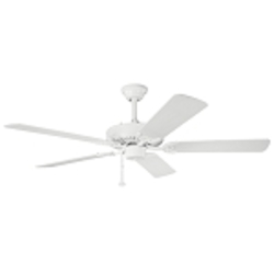 "Sterling Manor Collection 52"" White Powder Coat Ceiling Fan with White Blades 339010WH"