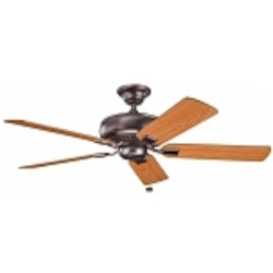 "Saxon Collection 52"" Oil Brushed Bronze Ceiling Fan with Reversible Walnut/Cherry Blades 339012OBB"