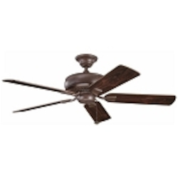"Saxon Collection 52"" Tannery Bronze Ceiling Fan with Reversible Teak/Cherry Blades 339012TZ"