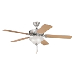 "Sterling Manor Collection 52"" Brushed Stainless Steel Ceiling Fan with Reversible Light Oak/Medium Oak Blades 339210BSS"