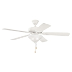 "Sterling Manor Collection 52"" Satin Natural White Ceiling Fan with Satin Natural White Blades 339210SNW"