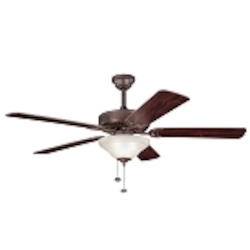 "Sterling Manor Collection 52"" Tannery Bronze Ceiling Fan with Reversible Cherry/Teak Blades 339210TZ"