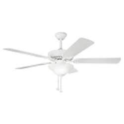 "Sterling Manor Collection 52"" White Powder Coat Ceiling Fan with White Blades 339210WH"