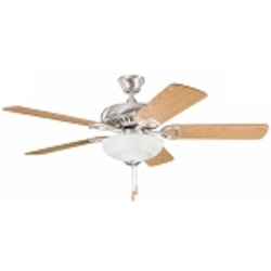 "Sutter Place Select Collection 52"" Brushed Stainless Steel Ceiling Fan with Reversible Light Oak/Medium Oak Blades 339211BSS"