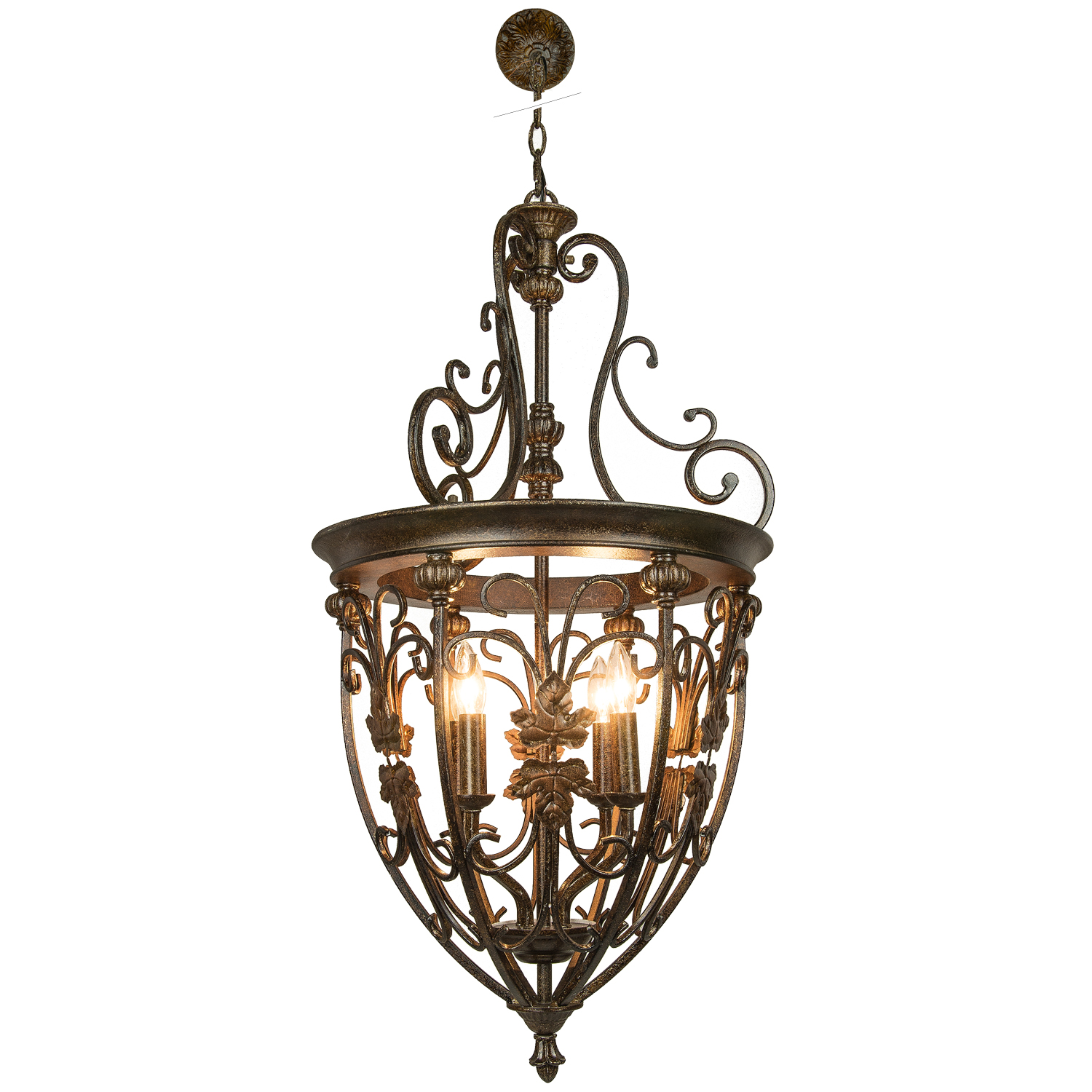 Hanging Light Fixture: Joshua Marshal 700042-001 4 Light Hanging Lantern Light