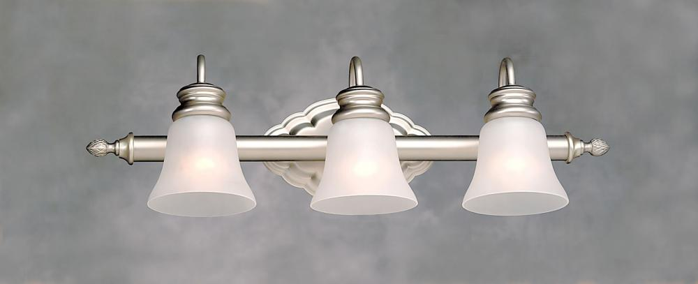 Forte Three Light Brushed Nickel Satin Etched Crackle Glass Vanity Brushed Nickel 5018-03-55 ...