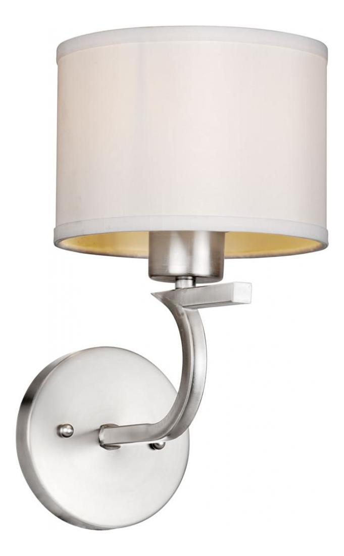 Brushed Nickel Wall Sconce With Fabric Shade : Forte One Light Brushed Nickel Fabric Shade Wall Light Brushed Nickel 2562-01-55