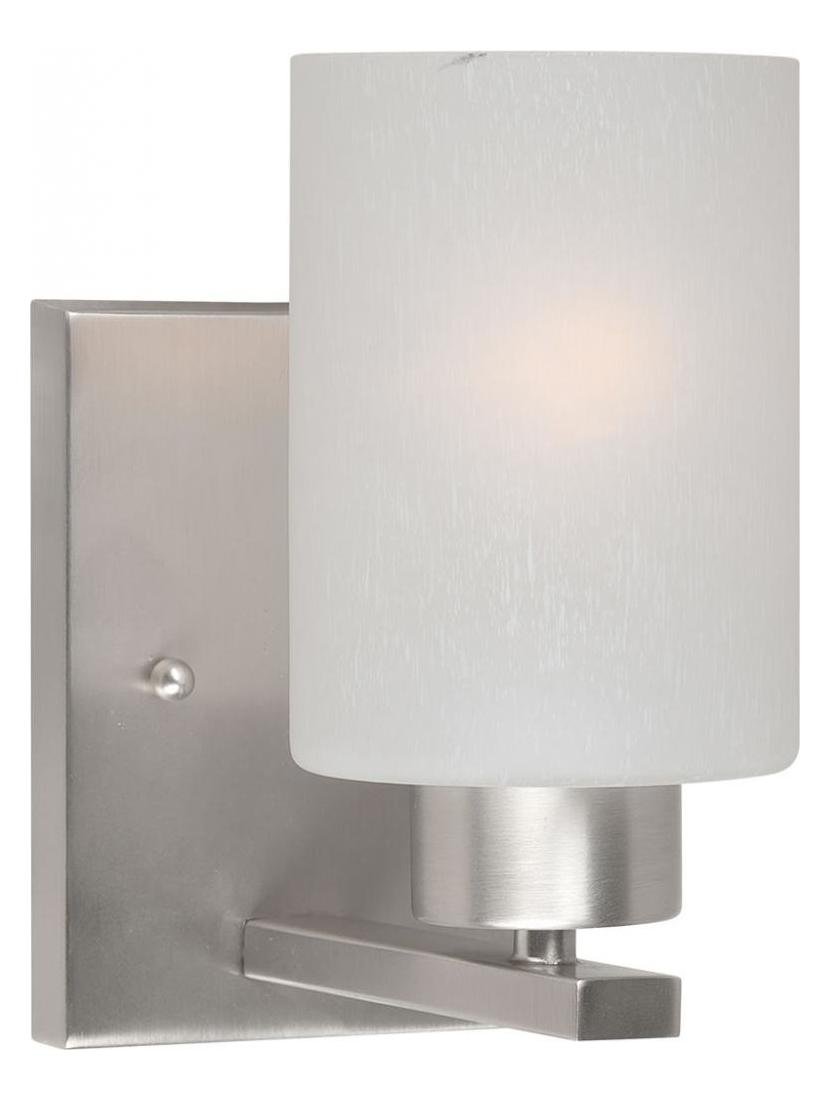 Vanity Lights With Seeded Glass : Forte One Light Brushed Nickel Frosted Seeded Glass Vanity Brushed Nickel 5086-01-55